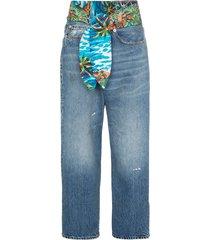 r13 jasper tie waist wide-leg jeans - blue