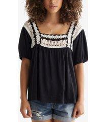 lucky brand cotton crochet-neck top
