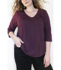 ori women's plus size cloudsoft 3/4 sleeve v-neck tee