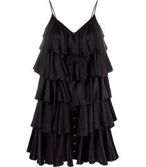 balmain ruffle layered strappy dress - black