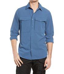 men's fjallraven abisko trekking performance snap-up shirt, size x-large - blue
