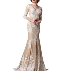 fanmu v-neck mermaid long sleeves prom dresses evening gowns champagne us 24plus