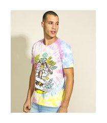 camiseta masculina coyote looney tunes estampado tie dye manga curta multicor