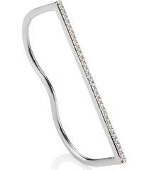 sterling silver fiji skinny double diamond ring diamond
