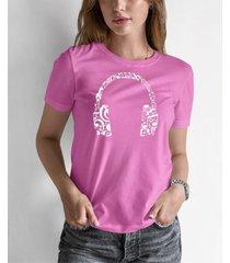 women's word art music note headphones t-shirt
