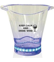 balde de gelo com led personalizado drink wine - incolor - dafiti