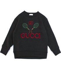 gucci dark grey felted cotton jersey sweatshirt