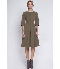 sukienka z rozkloszowanym dołem,suk122 khaki