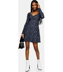 blue animal tie cardigan dress - blue