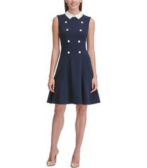 tommy hilfiger crepe-collar fit & flare dress