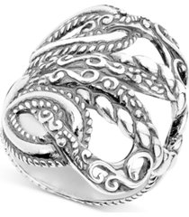 """lasting connections"" openwork statement ring in sterling silver"