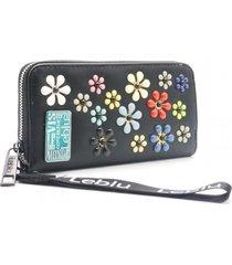 billetera negra leblu flores