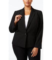 kasper plus size crepe one-button blazer