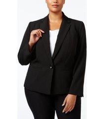 kasper plus size crepe one-button blazer