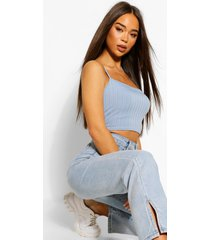 recycled chunky rib crop top, denim