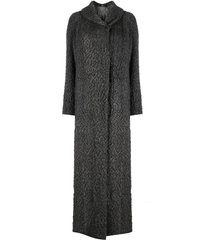 gianfranco ferré pre-owned 2000s fluffy-knit maxi coat - grey