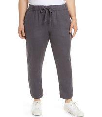 plus size women's caslon track style linen pants, size 3x - grey
