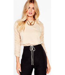 womens crop right now ruched sweatshirt - stone