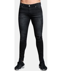 casual pantaloni patchwork ripped stone washed jeans denim pantaloni per uomo
