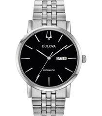 bulova men's automatic american clipper stainless steel bracelet watch 42mm