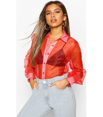 petite organza long sleeve blouse, red