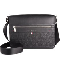 tommy hilfiger men's leo logo embossed messenger bag
