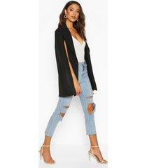 tall woven cape blazer, black