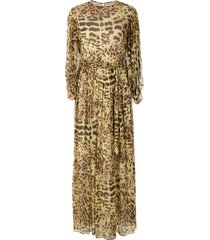 adriana degreas leopard print silk gown - yellow