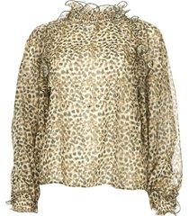 blouse met ruches frill  groen
