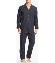 men's majestic international herringbone cotton pajamas, size x-large - grey