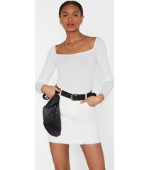 womens home is square the heart is ribbed bodysuit - ivory