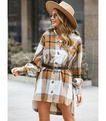mini vestido a cuadros con cuello de solapa y dobladillo alto-bajo de yoins