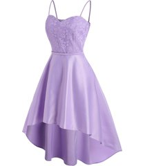 flower lace high low midi party dress
