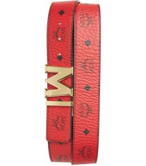 men's mcm reversible signature leather belt, size one size - ruby red