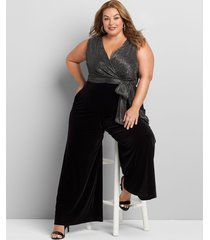 lane bryant women's crossover metallic jumpsuit 10/12 black