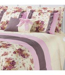 kit edredom vitoria king palha e rosa com porta travesseiro floral com 7 peças - tricae