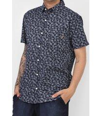 camisa fatal reta folhagem azul-marinho