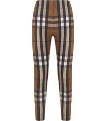 check print leggings birch brown
