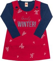 conjunto livy inverno salopete vermelho/marinho