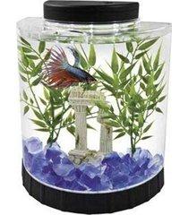 1.1-gal. aquarium kit tabletop fish tank led light half moon home office decor