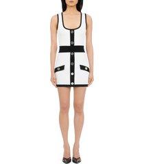 women's balmain two-tone sweater minidress, size 12 us - white