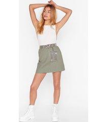 womens high-waisted mini denim skirt with raw hem - sage