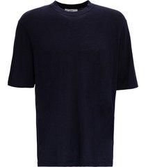 ami alexandre mattiussi blue cotton blend t-shirt