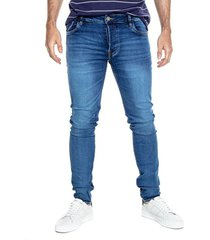 slim fit jeans tono oscuro + botonadura interna color blue