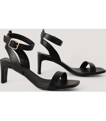 na-kd shoes basic squared heel sandals - black