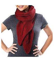 cotton scarf, 'ascot charm in claret' (thailand)