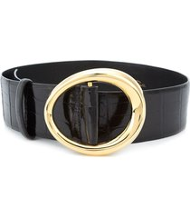 oscar de la renta small oval buckle belt - black