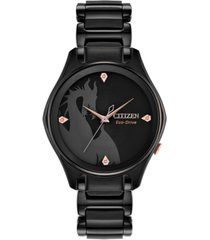citizen eco-drive women's maleficent diamond-accent black stainless steel bracelet watch 34mm