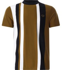 fred perry striped piqué t-shirt | dark caramel | m1596-644