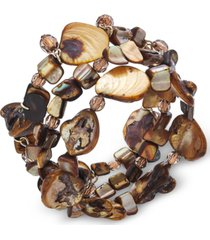 style & co 3 piece set shell & bead stretch bracelets, created for macy's